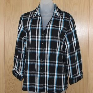 Foxcroft Fitted Stretch Button-up Blouse